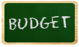 Small chalkboard with the word budget written on it